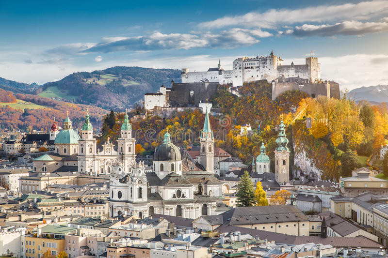 Historic city of Salzburg in fall, Austria stock photos