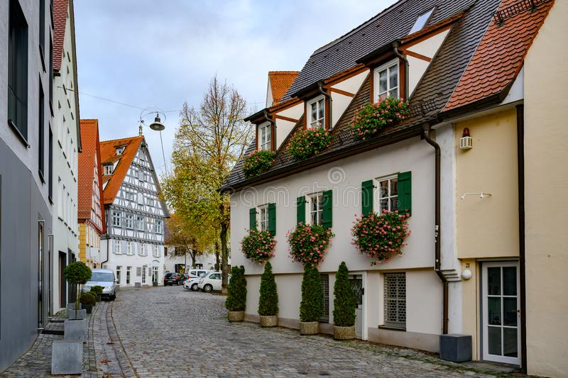 Historic city of Ulm, scenic spot on Romantic Street, Baden-Wuerttemberg, Germany. Half-timber houses in historic district of Ulm. royalty free stock images