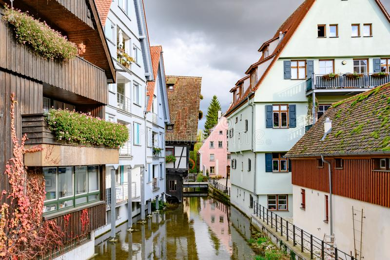 Historic city of Ulm, scenic spot on Romantic Street, Baden-Wuerttemberg, Germany.Houses in historic district of Ulm. royalty free stock images