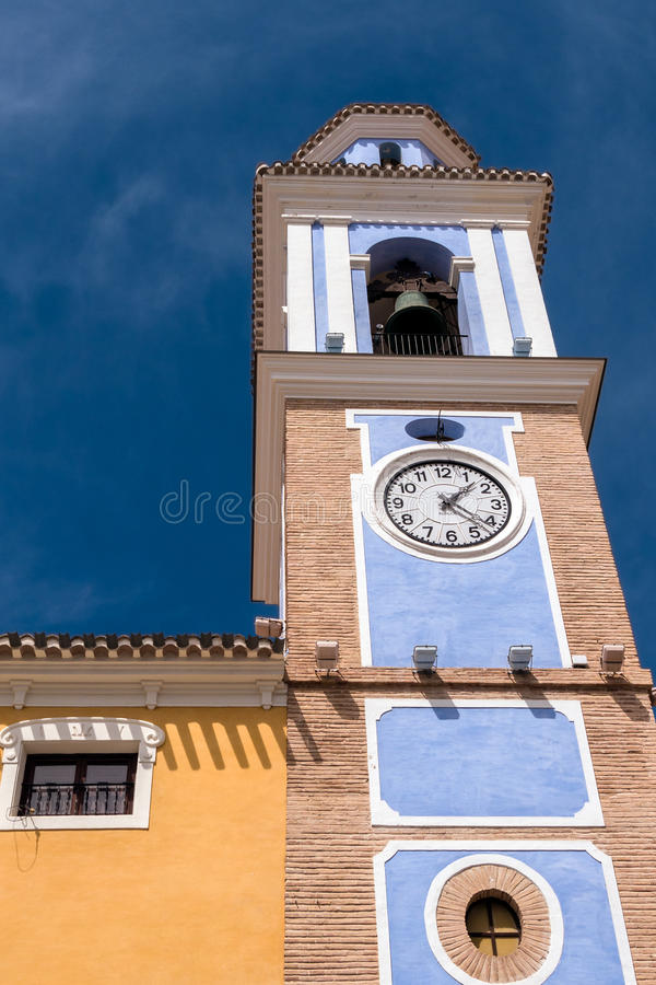 Historic Clock Tower in Mula, Spain stock images