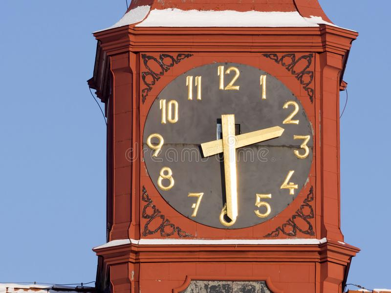 Historic clock tower showing the exact time, Jihlava, Europe. The Historic clock tower showing the exact time, Jihlava, Europe royalty free stock images