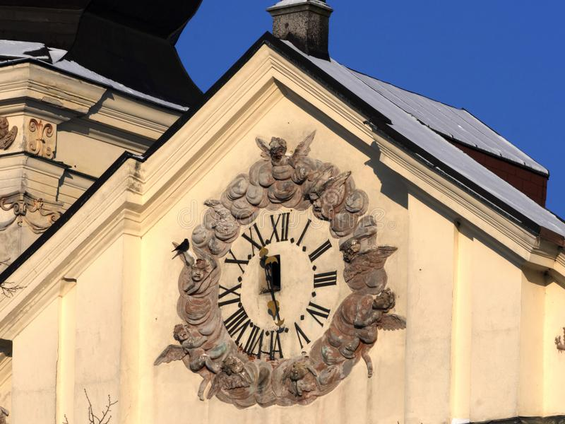 Historic clock tower showing the exact time, Jihlava, Europe. The Historic clock tower showing the exact time, Jihlava, Europe stock image