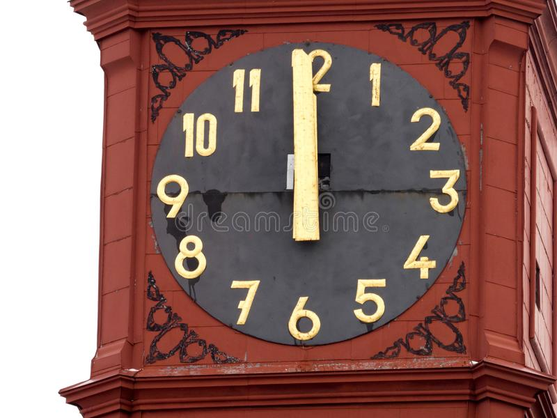 Historic clock tower showing the exact time, Jihlava, Europe. One Historic clock tower showing the exact time, Jihlava, Europe royalty free stock photography