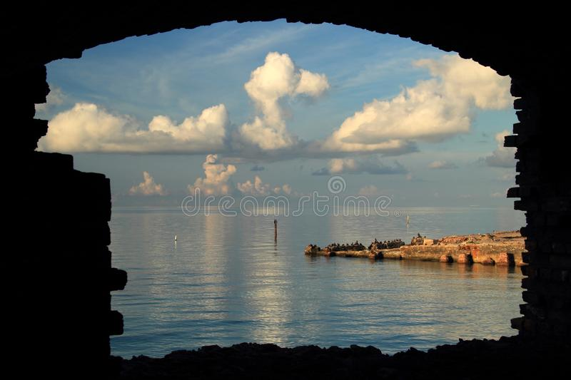 Historic Coal Dock Ruins at Fort Jefferson stock photography