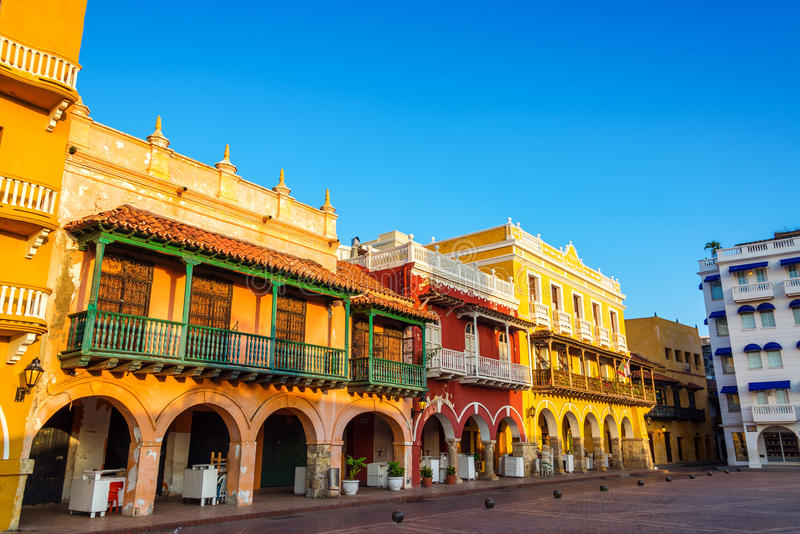Historic Colonial Facades. Historic and colorful colonial buildings in the center of Cartagena, Colombia royalty free stock photography
