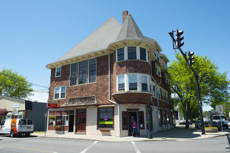 Historic commercial building, Medfield, Massachusetts, USA. Historic commercial building on Main Street at North Street in Medfield historic town center in stock photos