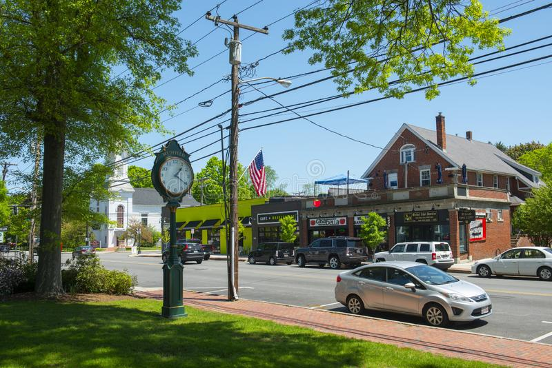 Historic commercial building, Medfield, Massachusetts, USA. Historic commercial building on Main Street in Medfield historic town center in summer, Medfield royalty free stock photo