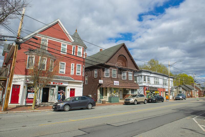 Historic commercial buildings, North Andover, Massachusetts, USA. Historic commercial buildings on Main Street near town hall in town center of North Andover royalty free stock image