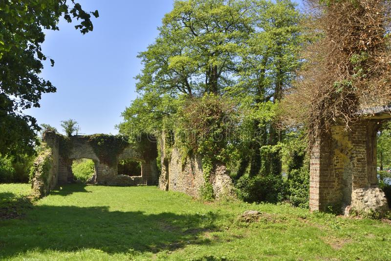 Historic Country House Ruins of East Anglia. View of the ruins of the country house of the Priors of Norwich, Whitlingham Country Park, Trowse near Norwich, East royalty free stock photos