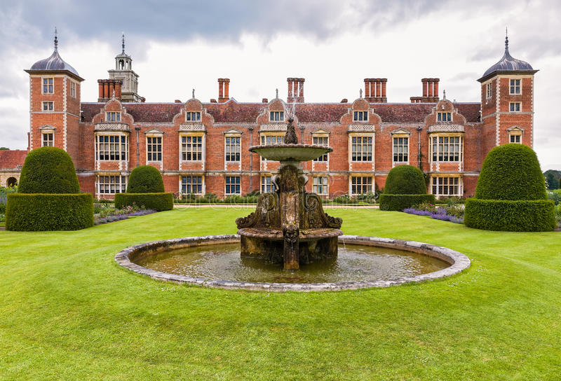 Historic Country Mansion in England. The stately home at Blickling Hall estate. Aylsham, Norfolk, East Anglia, England royalty free stock photography