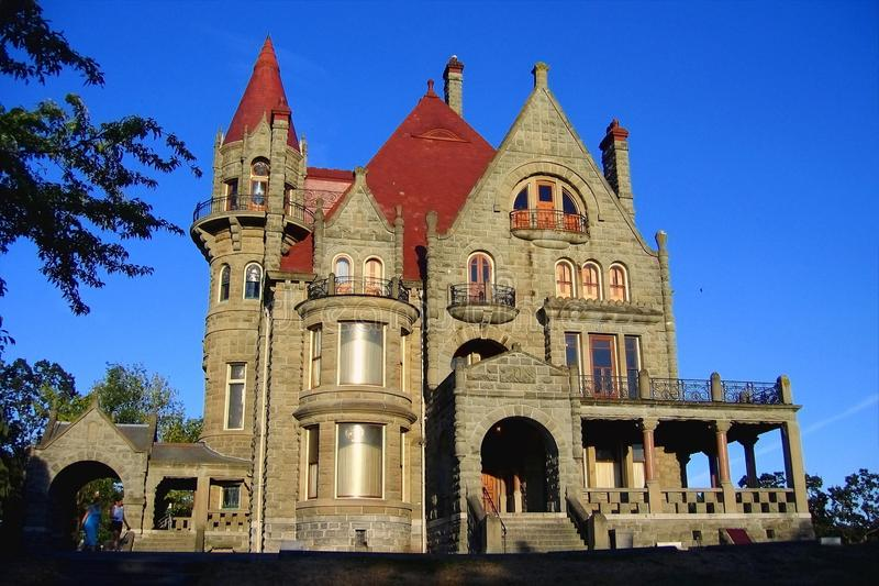 Evening Sun on Craigdarroch Castle in Victoria, Vancouver Island, British Columbia, Canada. Historic Craigdarroch Castle was once the imposing residence of the stock photo