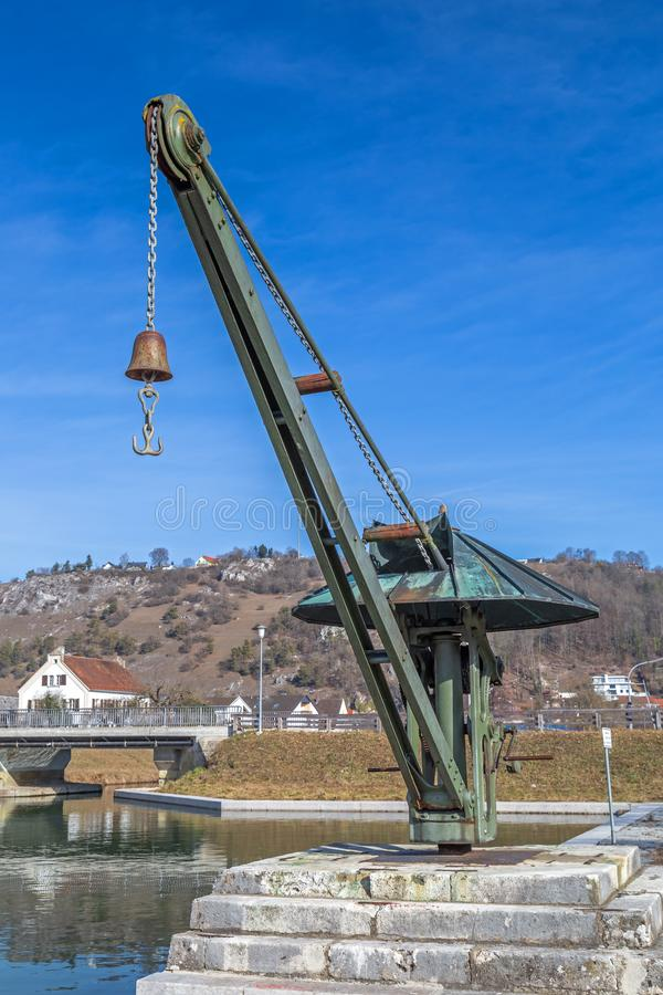 Historic crane at Old Port of the Ludwig Danube Main Canal in Kelheim. Bavaria, Germany stock photography