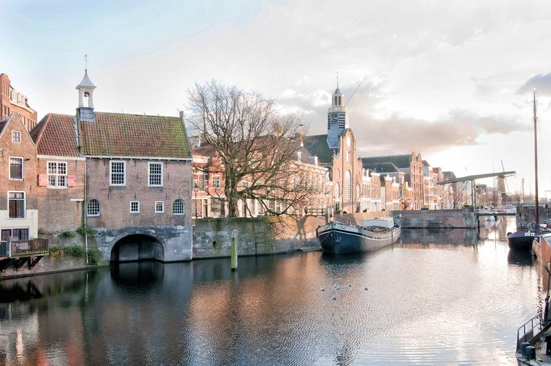 The historic Delfshaven, harbour port and the Pilgrim Fathers of Rotterdam, The Netherlands stock photography