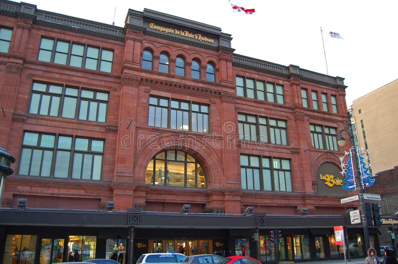 Hudson's Bay, Saint Catherine Street, Montreal, Canada. Historic department store Hudson's Bay at Phillips Square on Saint Catherine Street in Montreal stock images