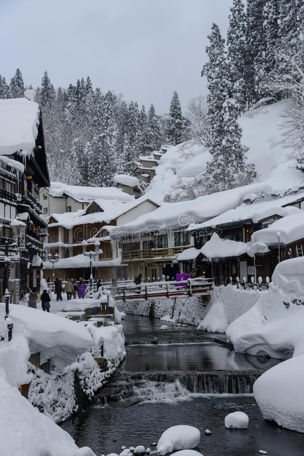 Download Historic District Of Ginzan-onsen In Winter Editorial Photo - Image of asia, mountain: 39508971