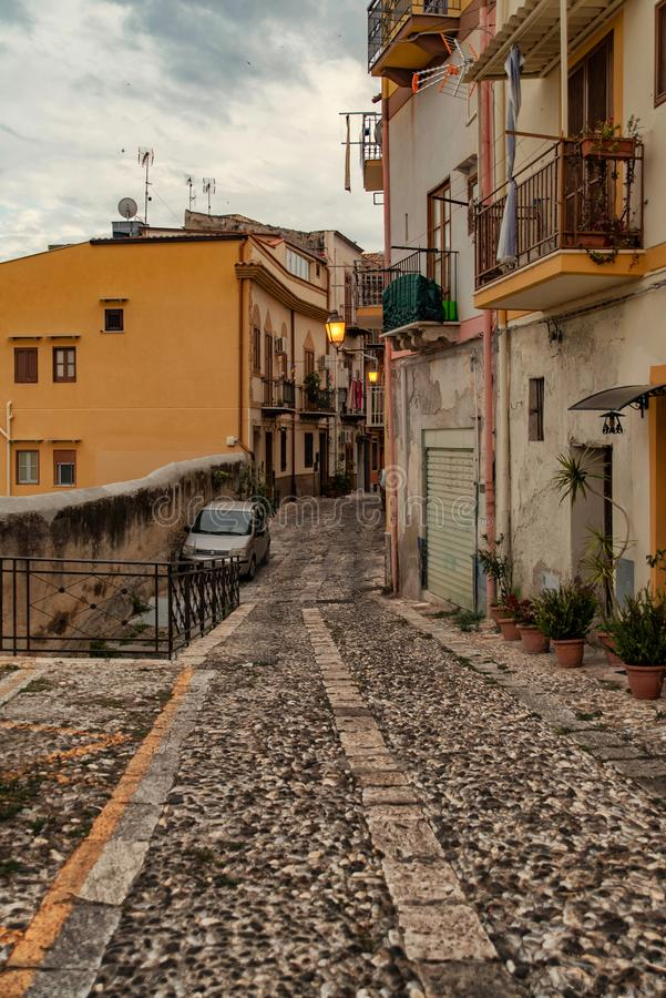 A historic district in the upper part of the city. With beautiful old road surfaces, which date back to the Roman period royalty free stock photos
