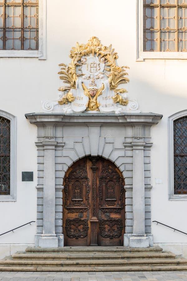 Historic door to Jesuit church. In Bratislava royalty free stock photos