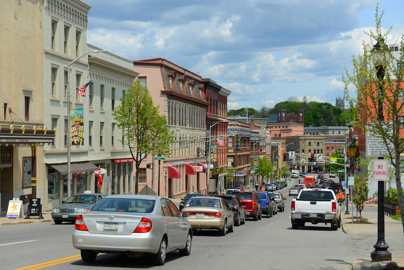 Historic downtown Bangor, Maine. Historic Blocks at Main Street in downtown Bangor, Maine, USA royalty free stock images