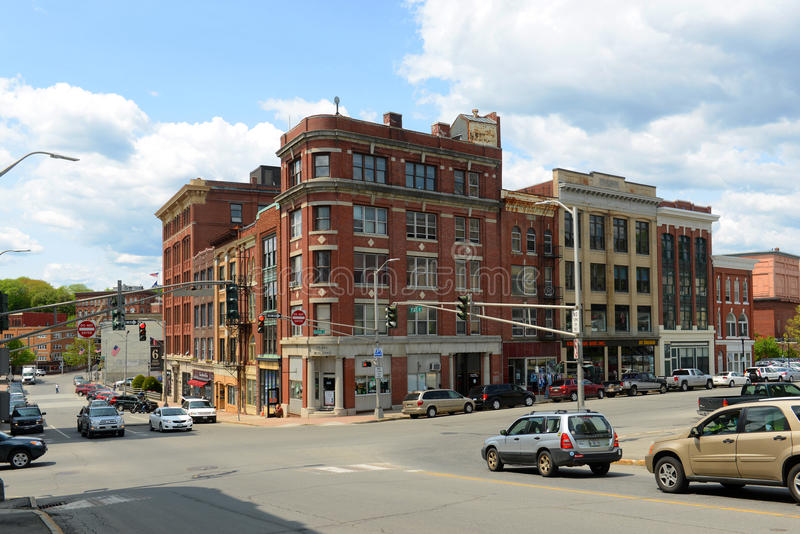 Historic downtown Bangor, Maine. Historic Blocks at State Street and Harlow Street intersection in downtown Bangor, Maine, USA stock image