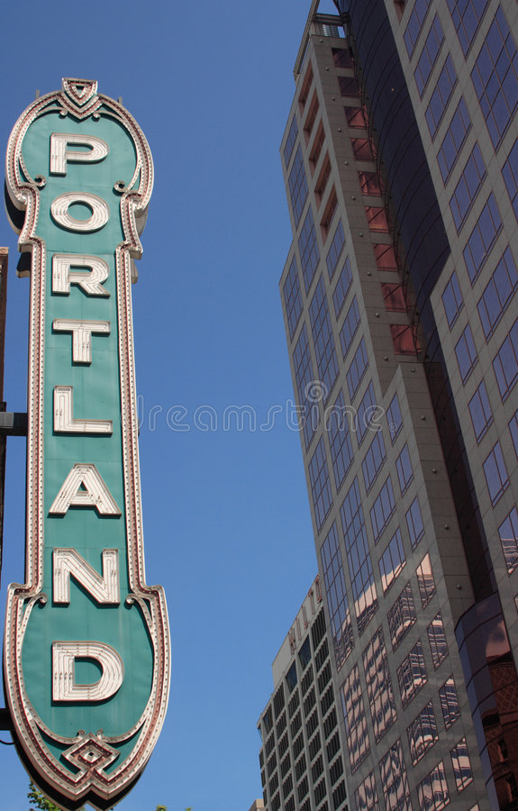 Historic downtown Portland Ore. Gon Sign stock photography