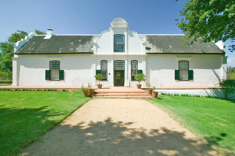 Historic Dutch Cape Architecture at Stellenbosch wine region, outside of Cape Town, South Africa royalty free stock image