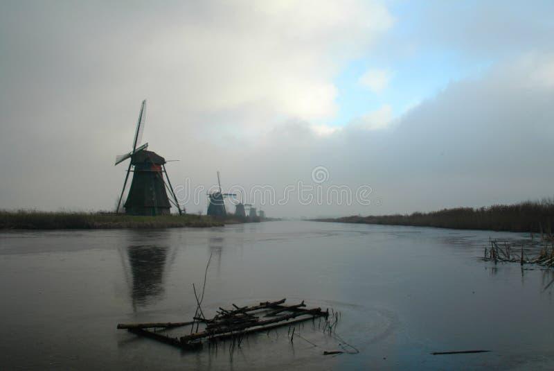 Historic dutch windmills stock photo