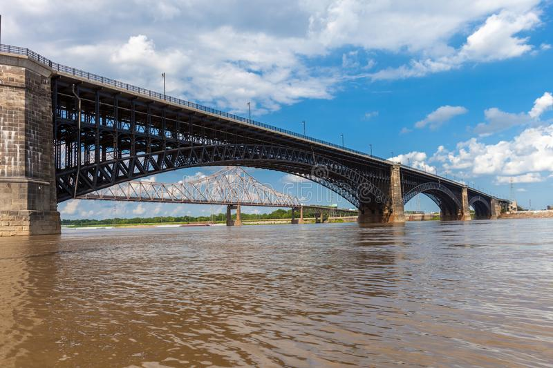The historic Eads Bridge over the Mississippi River connecting t. He cities of St. Louis, Missouri and East St. Louis, Illinois royalty free stock images