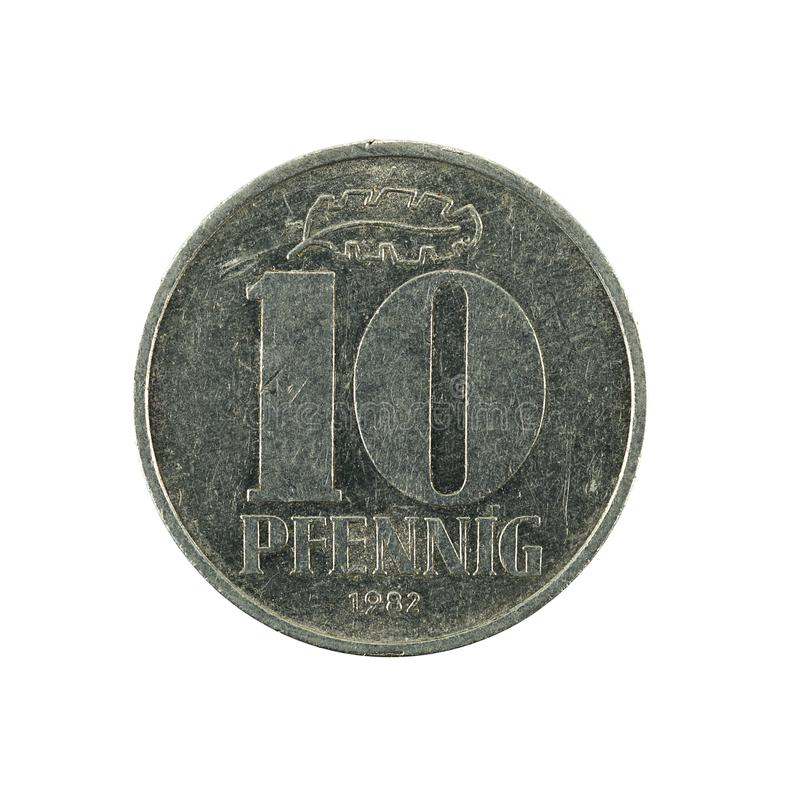 Historic 10 east german pfennig coin 1982 obverse. Isolated on white background stock photos