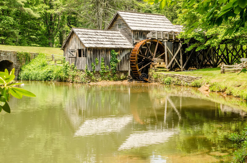 Historic Edwin B. Mabry Grist Mill (Mabry Mill) in rural Virginia on Blue Ridge Parkway and reflection on pond in summer stock photo