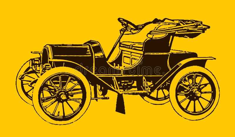 Historic electric motor car in quarter front view. Illustration after a lithography or engraving from the early 19th century. Editable in layers stock illustration