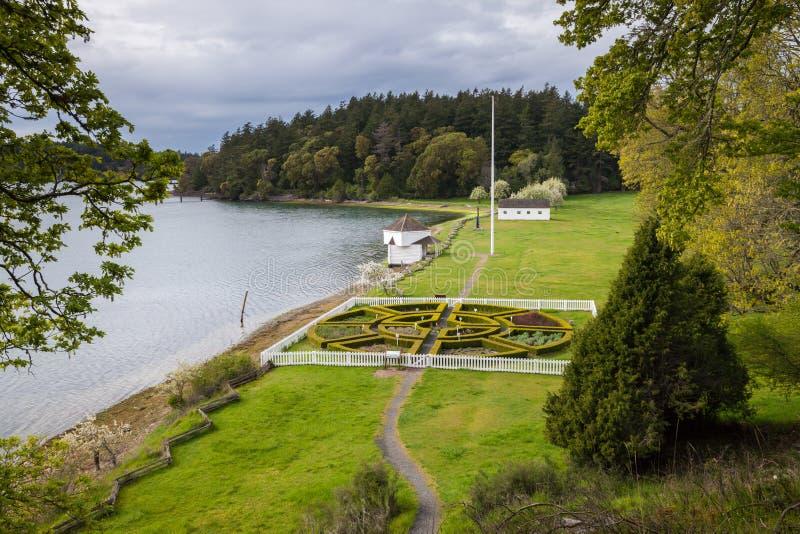 Historic English Camp on San Juan Island, Washington stock images