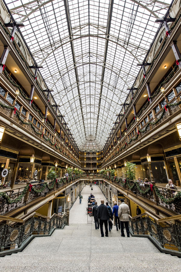 Historic Euclid Arcade - Downtown Cleveland, Ohio royalty free stock photos