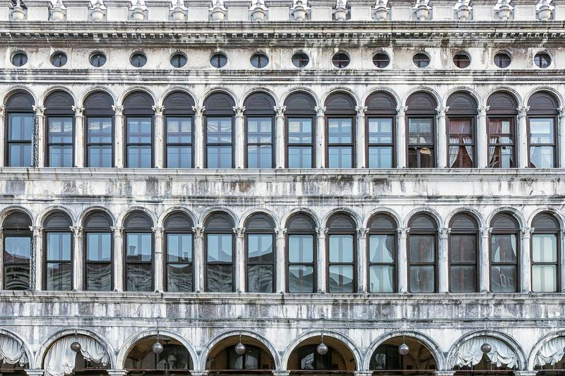 The historic facade in the Piazza San Marco in Venice. Italy.  stock photo