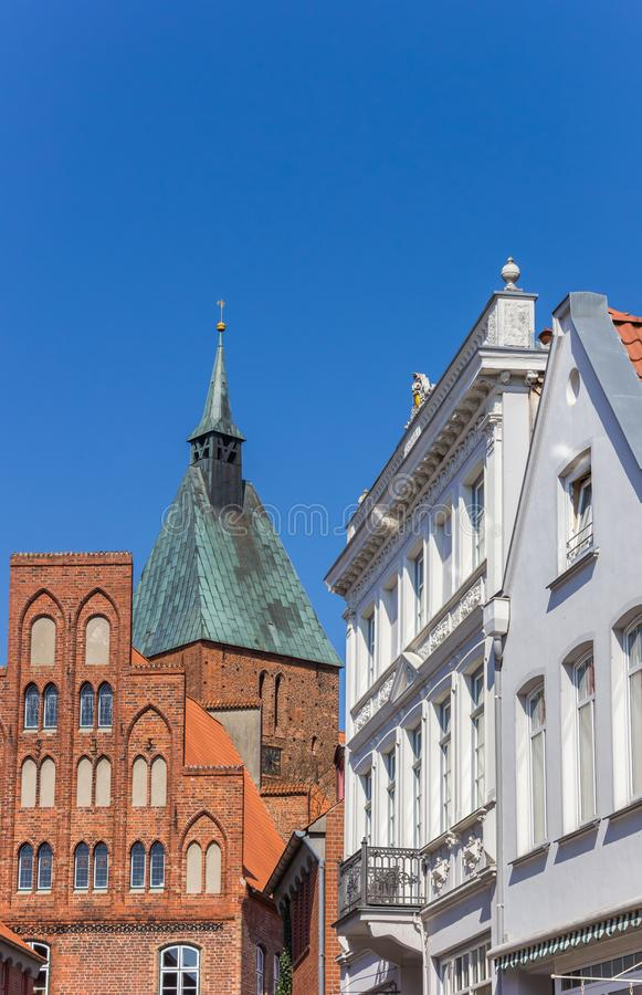 Historic facades and church tower in Molln. Germany royalty free stock images