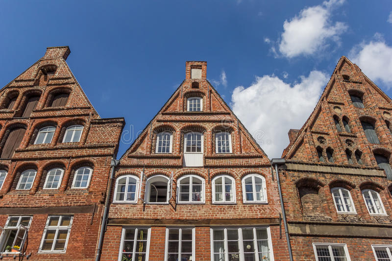 Historic facades in the old town of Luneburg stock photo