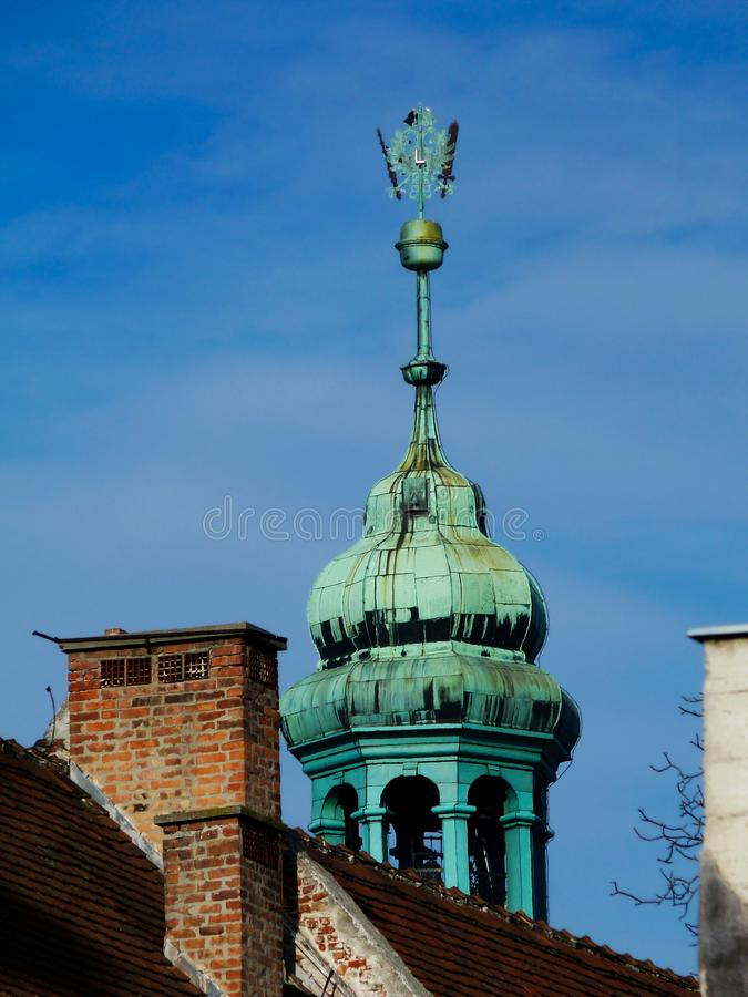 Historic fire watch tower detail in popular city of Sopron in Hungary royalty free stock photos