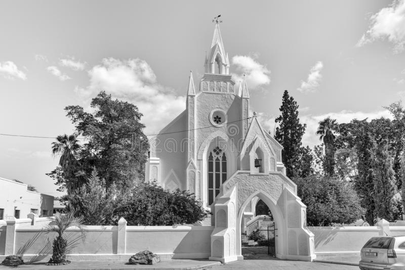 Historic first Dutch Reformed Church in Clanwilliam. Monochrome. CLANWILLIAM, SOUTH AFRICA, AUGUST 22, 2018: The historic first Dutch Reformed Church in stock photos