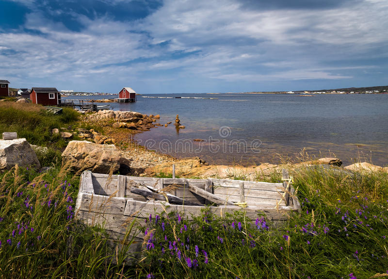 Historic fishing stages of fogo island stock image