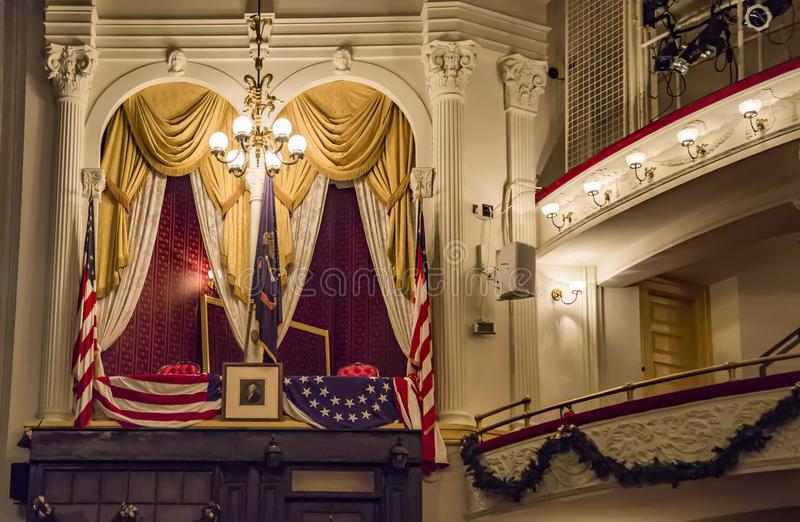 The historic Ford`s Theatre, the site of President Lincoln`s assassination. stock photos