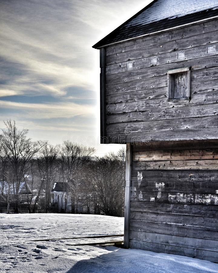 Historic Fort Edward. Fort Edward, in the historic town of Windsor, Nova Scotia, on a cold winter day royalty free stock image