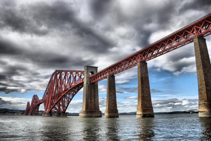 Historic Forth Bridge spanning the Firth of Forth stock photo