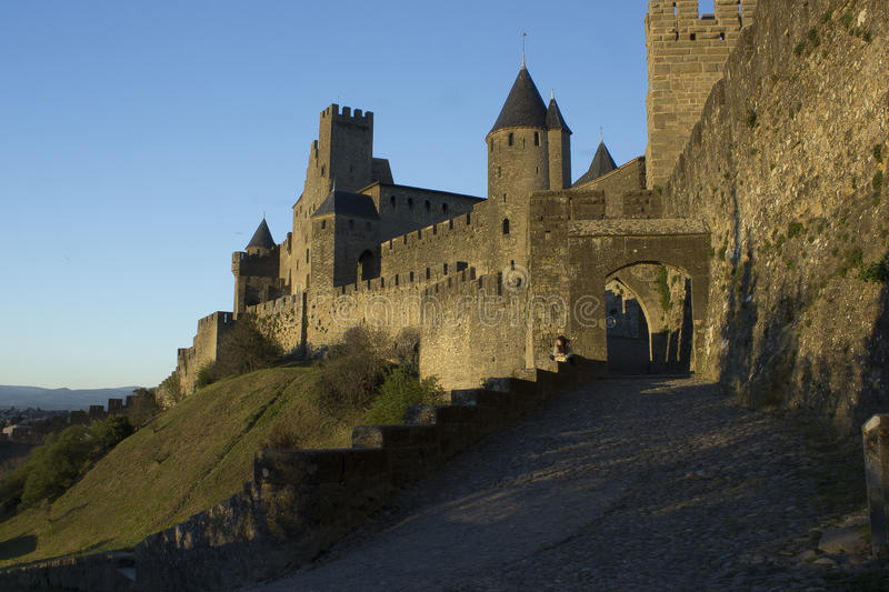 Historic fortified city of Carcassone, France. Carcassonne, a hilltop town in southern France's Languedoc area, is famous for its medieval citadel stock image