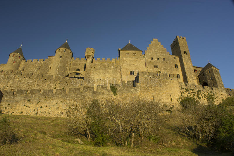 Historic fortified city of Carcassone, France. Carcassonne, a hilltop town in southern France's Languedoc area, is famous for its medieval citadel royalty free stock photography