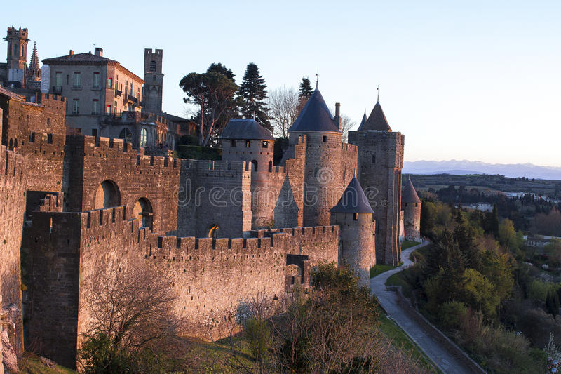 Historic fortified city of Carcassone, France. Carcassonne, a hilltop town in southern France's Languedoc area, is famous for its medieval citadel royalty free stock image