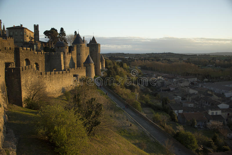 Historic fortified city of Carcassone, France. Carcassonne, a hilltop town in southern France's Languedoc area, is famous for its medieval citadel stock photos