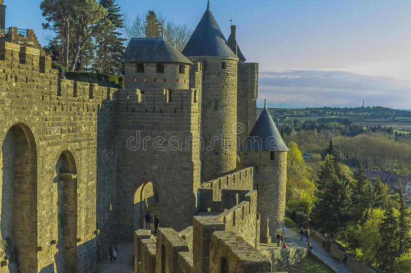 Historic fortified city of Carcassone, France. Carcassonne, a hilltop town in southern France's Languedoc area, is famous for its medieval citadel royalty free stock photos