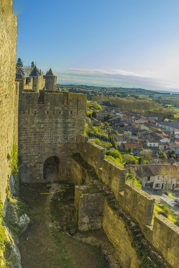 Historic fortified city of Carcassone, France. Carcassonne, a hilltop town in southern France's Languedoc area, is famous for its medieval citadel stock photo