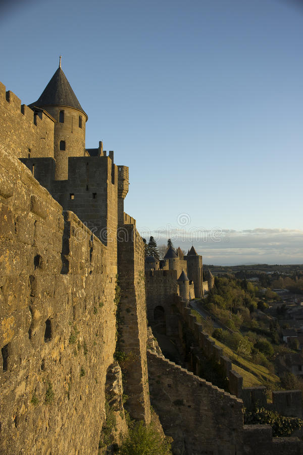 Historic fortified city of Carcassone, France. Carcassonne, a hilltop town in southern France's Languedoc area, is famous for its medieval citadel stock photography