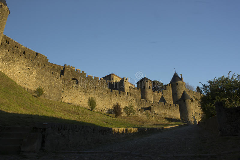 Historic fortified city of Carcassone, France. Carcassonne, a hilltop town in southern France's Languedoc area, is famous for its medieval citadel royalty free stock images