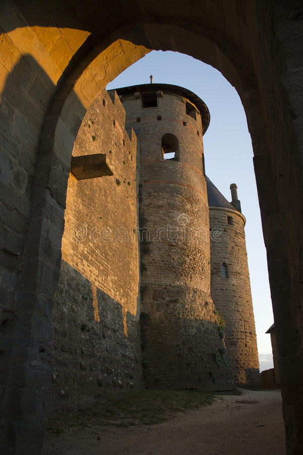 Historic fortified city of Carcassone, France. Carcassonne, a hilltop town in southern France's Languedoc area, is famous for its medieval citadel royalty free stock photo